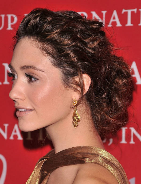 emmy rossum curly updo hairstyle