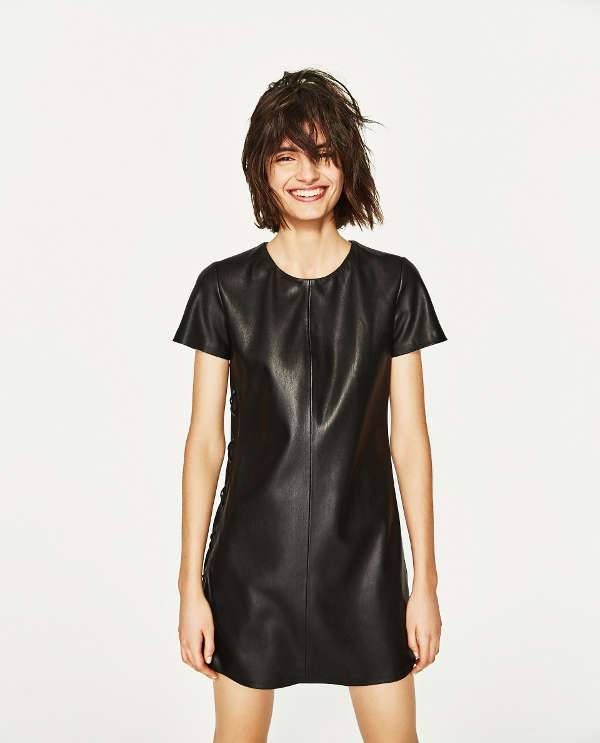 Faux Black Leather Dress
