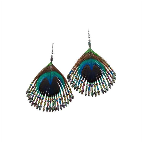 feather beaded earrings