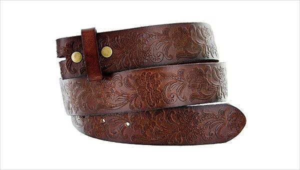 Floral Leather Belt Design for Men