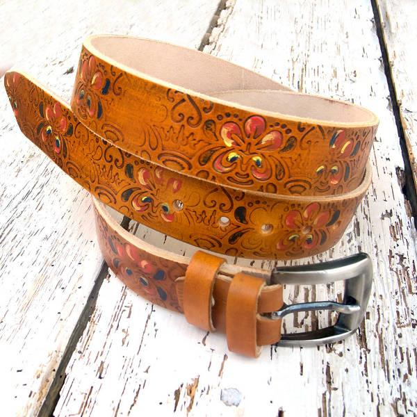 floral leather belt design for women