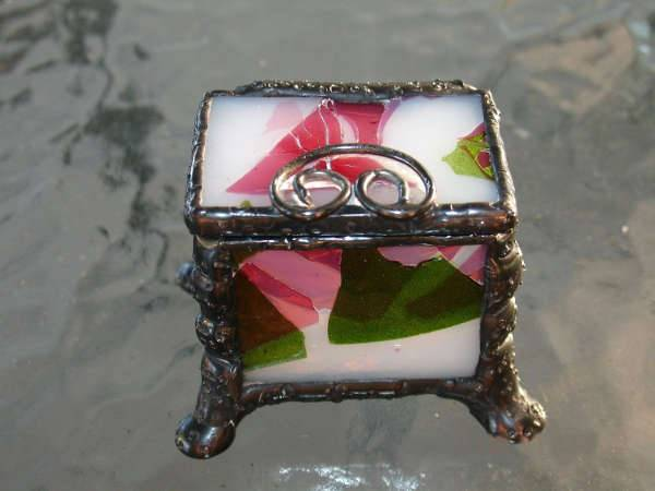 footed stained glass engagement ring box