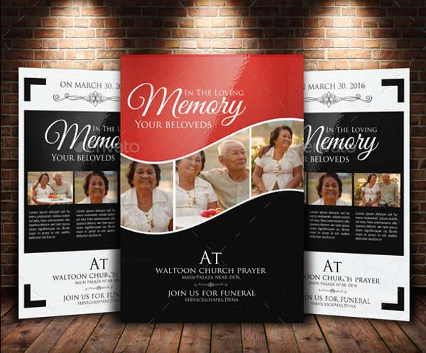 funeral memorial flyers