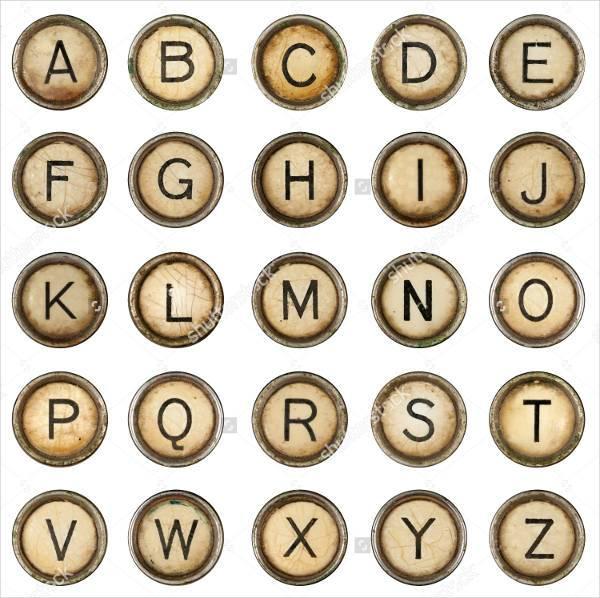grunge typewriter alphabet font