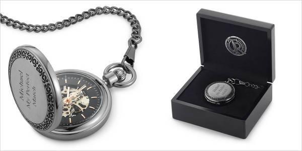gunmetal skeleton pocket watch