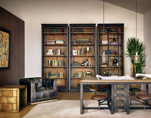 Industrial Home Office Bookcase Design