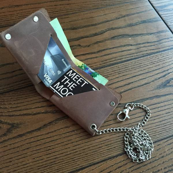 leather chain wallet for men