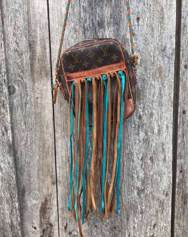 Leather Fringe Cross Body Handbag
