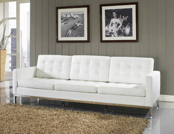 loft leather sofa in white