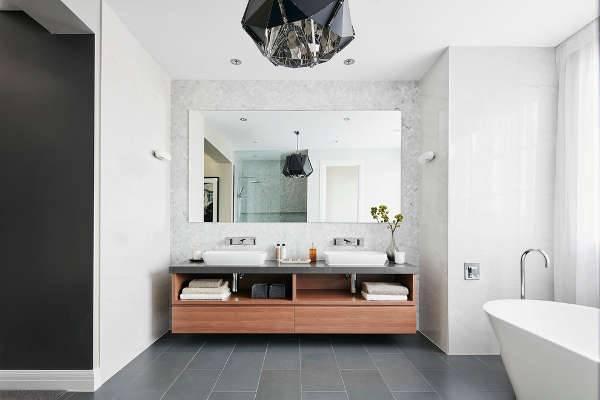 Long Modern Walnut Bathroom Vanity