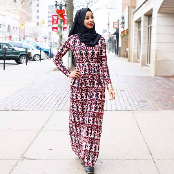 long sleeve pattern maxi dress
