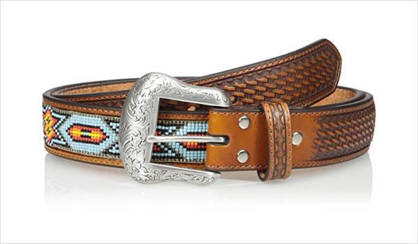 Men's Blue Beaded Belt Design