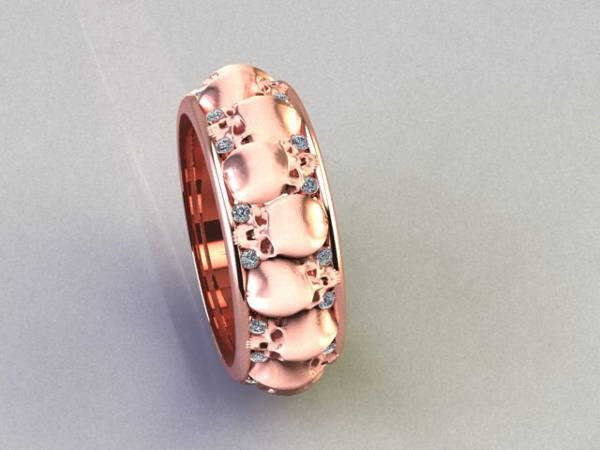 Men's Rose Gold Skull Wedding Ring