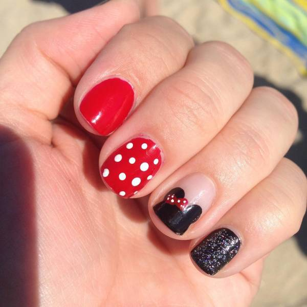 Minnie Mouse Dot Nail Art Idea - 14+ Minnie Mouse Nail Art Designs, Ideas Design Trends - Premium