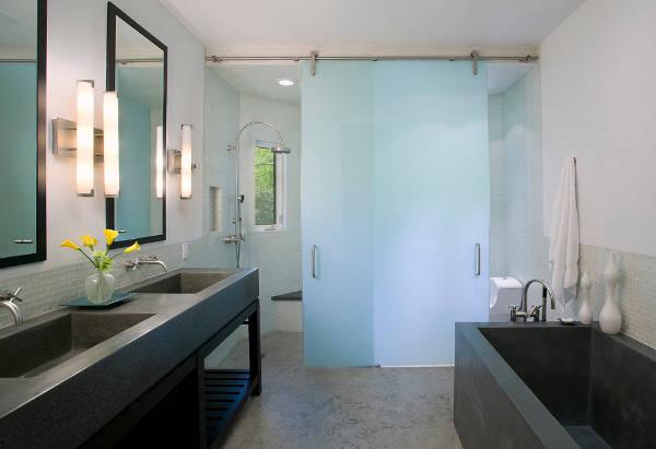 modern bathroom concrete countertop