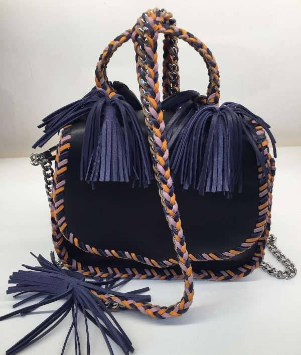 modern black fringe handbag