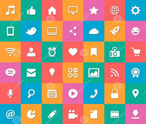 Modern Flat and Colorful Social Media Icons