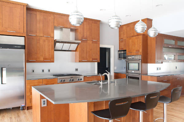 modern kitchen island concrete countertop