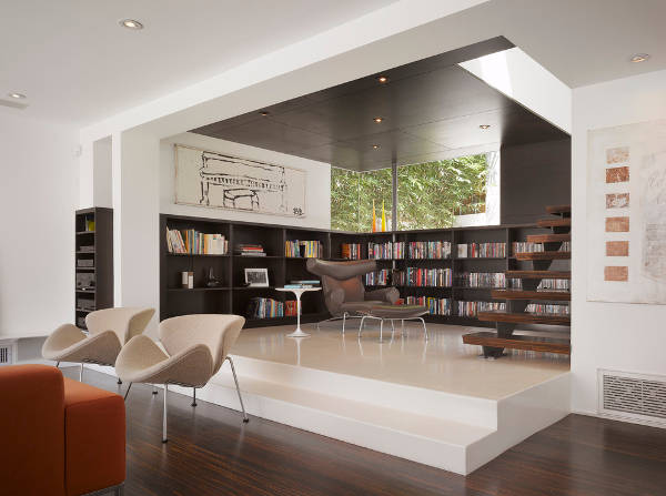 modern living room bookcase design