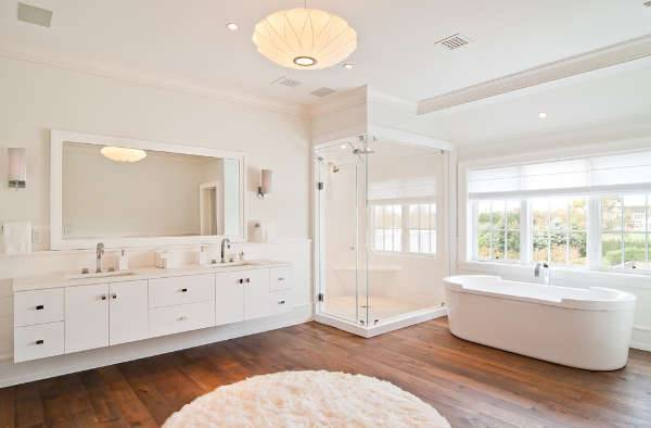 modern white bathroom vanity with shower