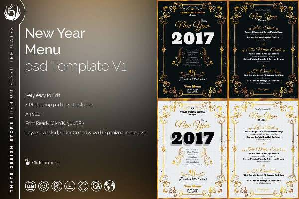 New Year Menu Designs