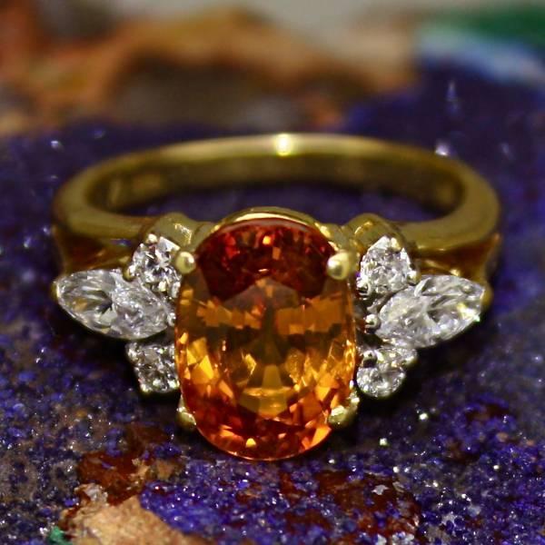 Orange Marquise Diamond Ring