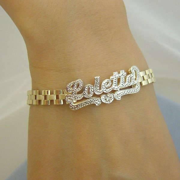 personalized 3d name bracelet