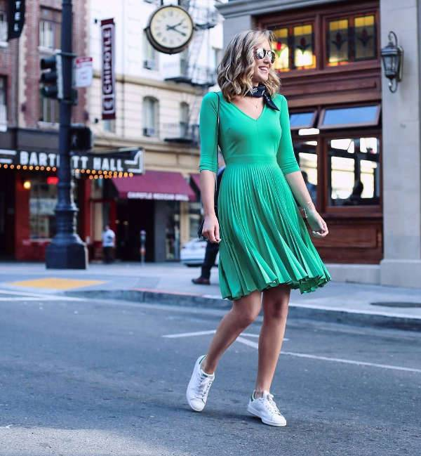 Pleated Green Dress