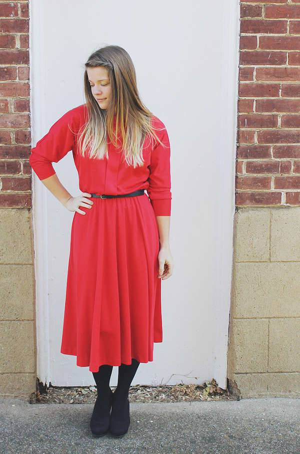red long sleeve winter dress