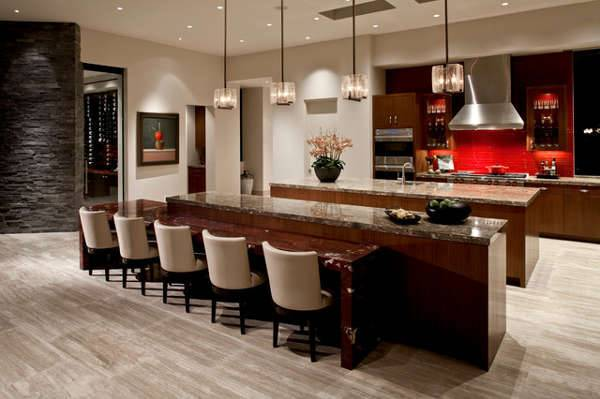 red travertine wall kitchen design