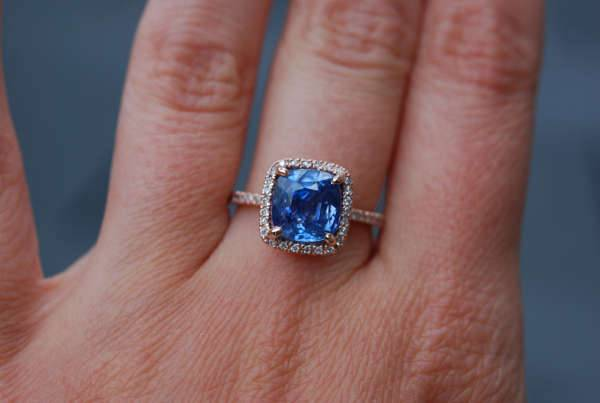 rose gold blue sapphire ring