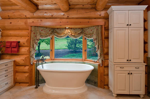 rustic bathroom window treatment