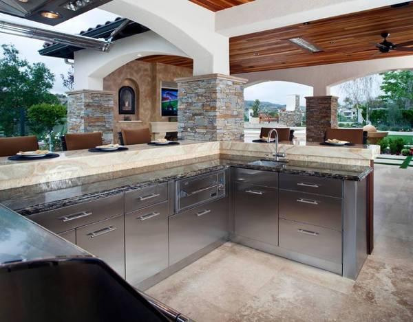 rustic open cabinet kitchen idea