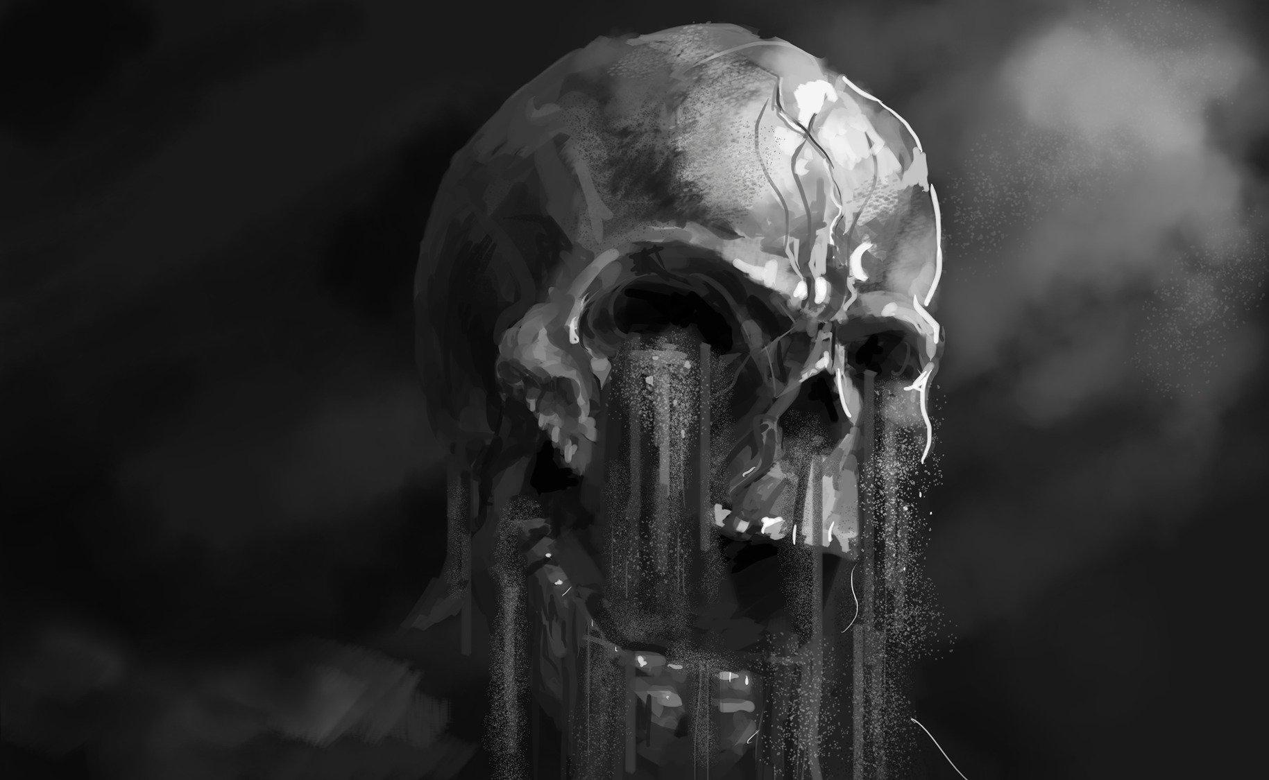 scary black skull wallpaper hq