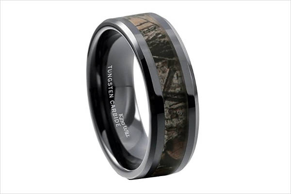 simple camo wedding ring for men