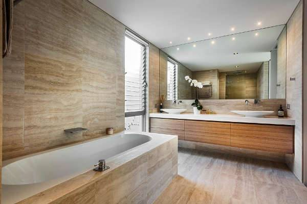 simple modern wood bathroom vanity