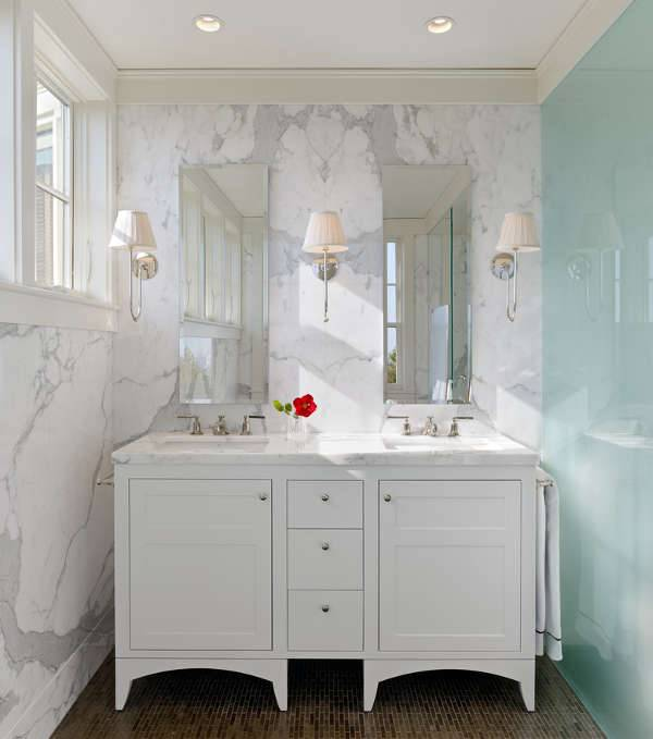 small modern bathroom double vanity