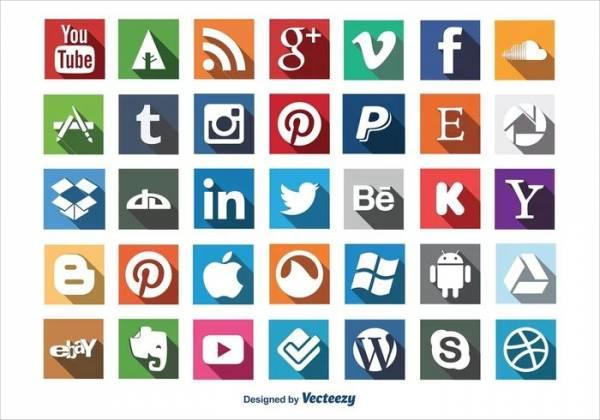 Social Media Icons Long Shadow, Free PSD