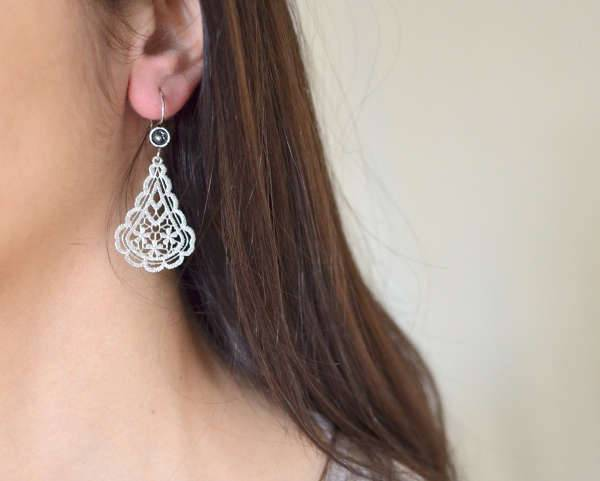 sterling silver chandelier lace earrings