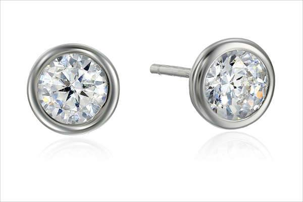 Sterling Silver Solitaire Stud Earrings