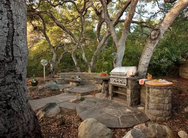 Stone Outdoor BBQ Island