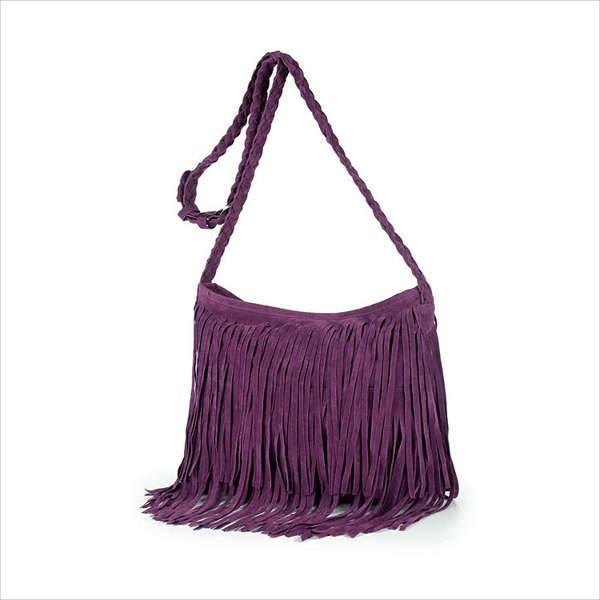 suede fringe faux handbag