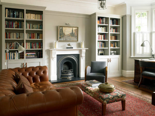 traditional fireplace bookcase design