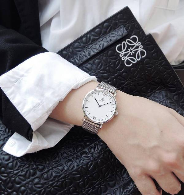 trendy silver designer watch for women