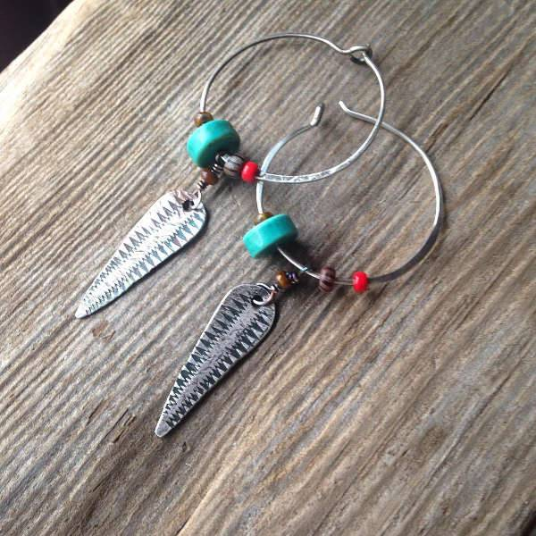 tribal sterling silver hoop earrings