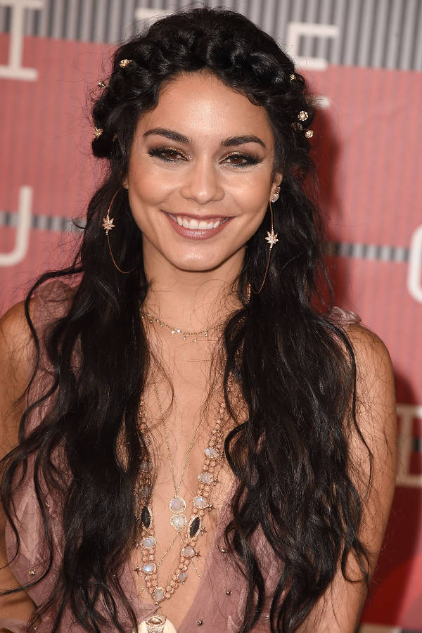 vanessa hudgens braided curly hairstyle