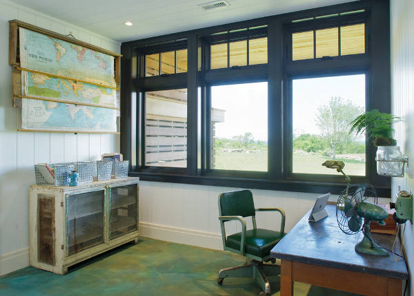 Vintage Home Office Window Design