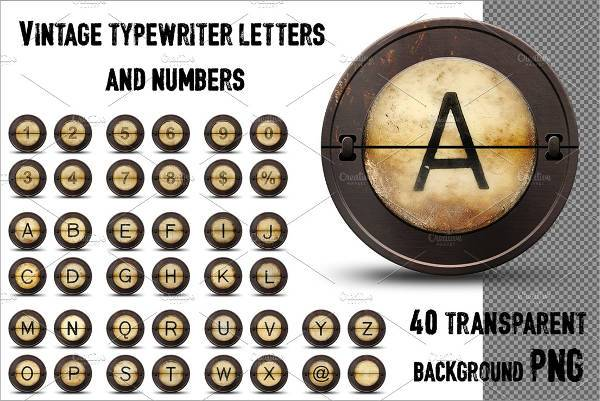 vintage typewriter number font