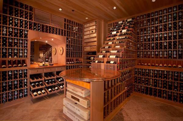 vintage walk in wine cellar