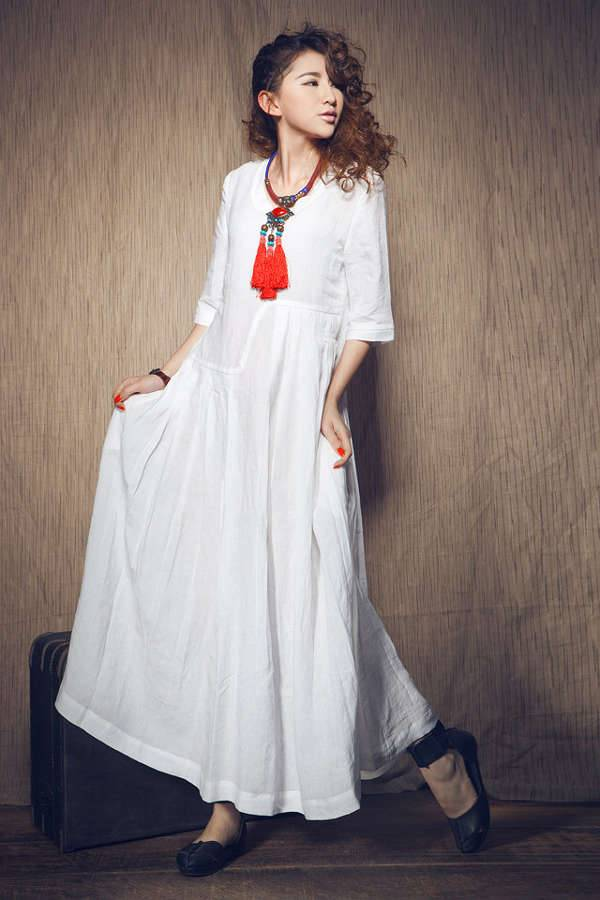 wedding white maxi linen dress